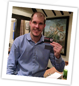 Ben James with the George and Dragon loyalty card